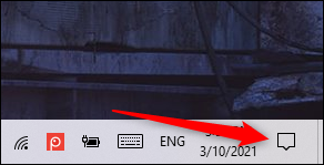 Notifications Icon in Windows 10