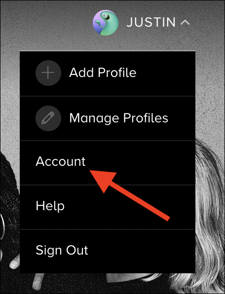 """Click the """"Account"""" option"""