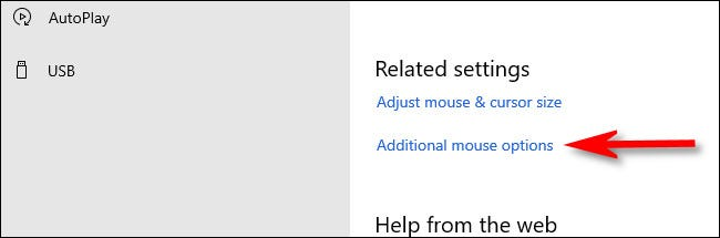 """In Mouse settings, click """"Additional mouse options."""""""