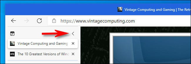 In the Edge vertical tabs column, click the vertical carat button to collapse the tabs list.
