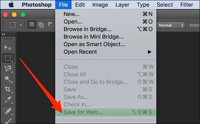 Photoshop menu item with a color