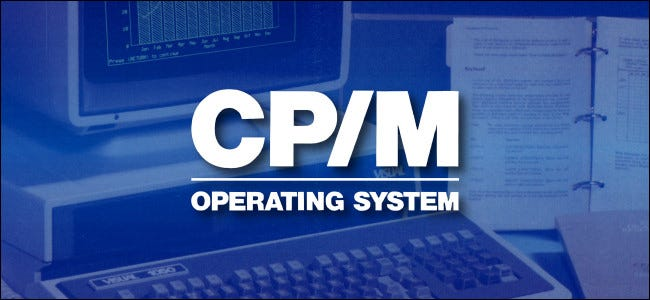 CP / M operating system logo on a blue background