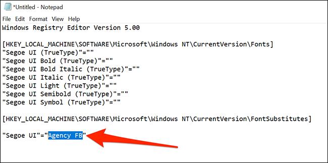 Mã thay đổi phông chữ mặc định trên Windows 10