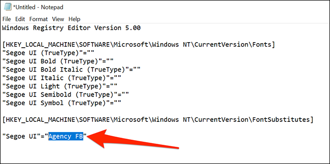 Code to change the default font on Windows 10