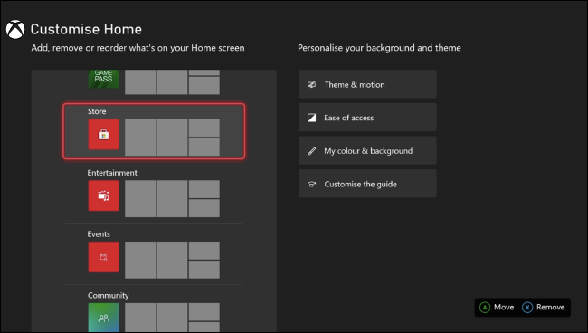 Customize Xbox Home