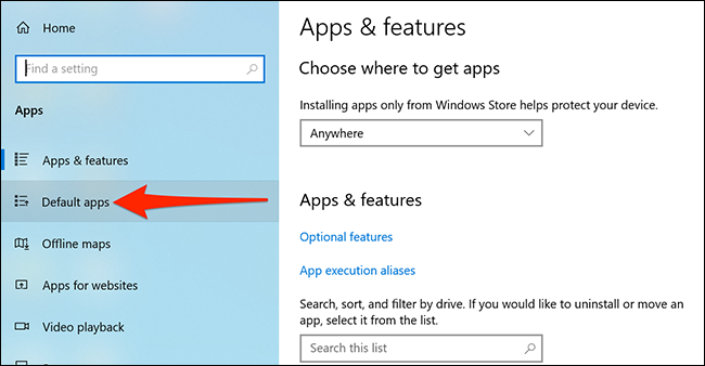 Access default apps in Settings