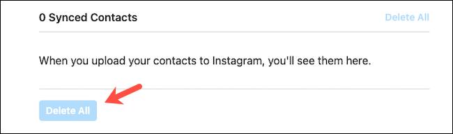 Удалить синхронизированные контакты на сайте Instagram