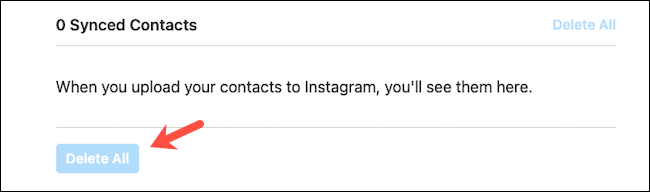 Delete synced contacts on Instagram website