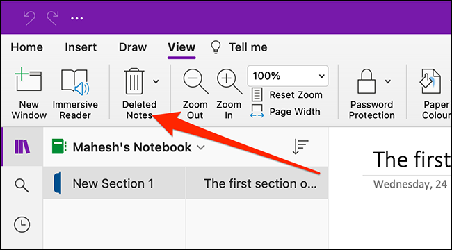 Deleted notes in OneNote for Mac