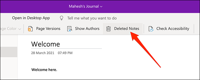 Removes the Notes option in OneNote for the web