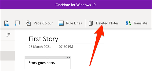 Deleted notes in OneNote