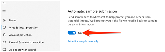 Disable suspicious file submission