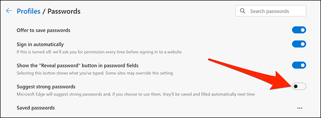 Disable password suggestions in Microsoft Edge