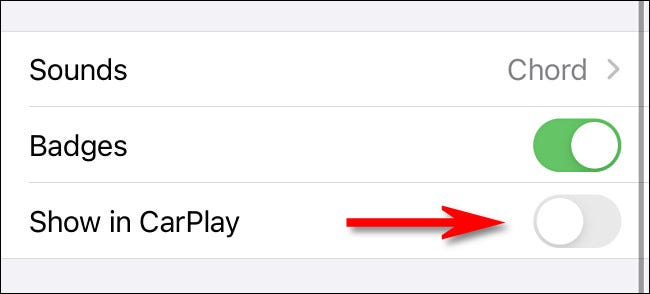 """Tap the switch beside """"Show in CarPlay"""" to turn it """"off."""""""