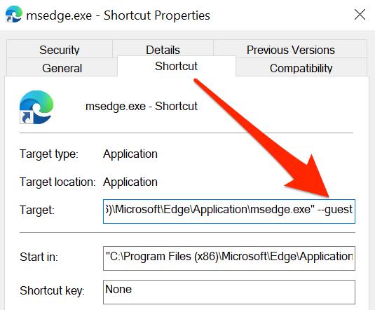 Properties window for Edge's shortcut