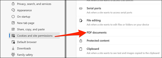 PDF documents option in Edge