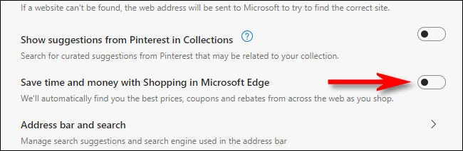 """Turn off the switch beside """"Save time and money with Shopping in Microsoft Edge."""""""
