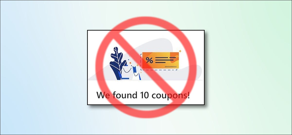 Microsoft Edge shopping coupons suggestion with a cross sign over it
