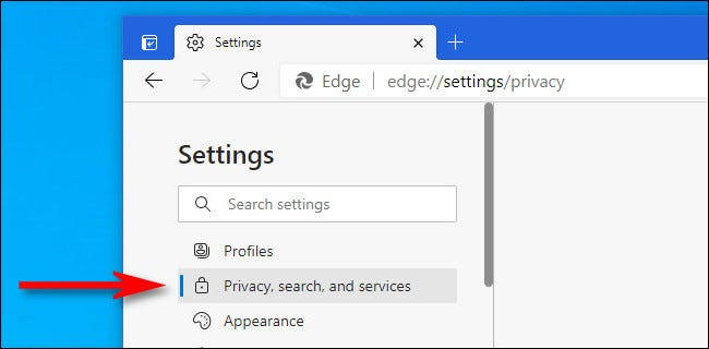 """In Edge Settings, click """"Privacy, Search, and Services."""""""