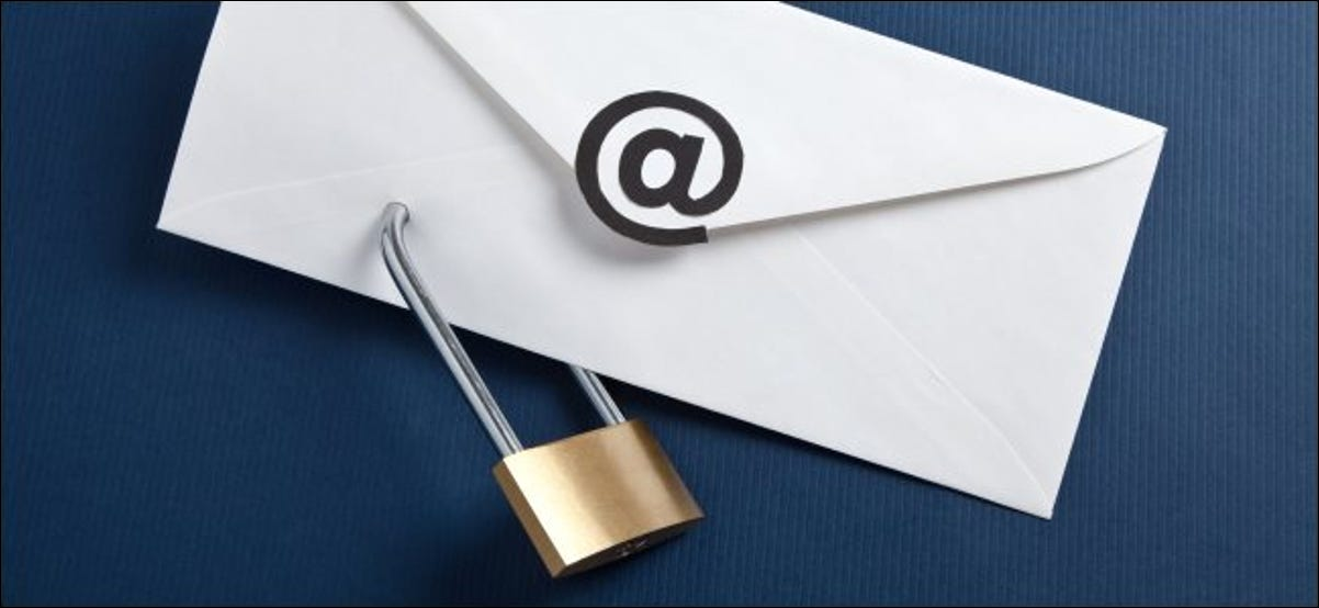 A padlock and an envelope symbolizing an email message.