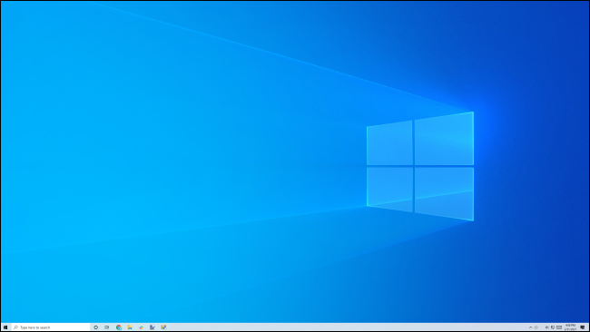 A clean, blank Windows 10 desktop and taskbar.