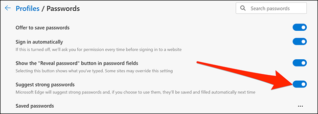 Enable password suggestions in Edge