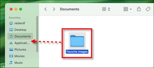 """Drag the folder to the """"Favorites"""" sidebar in a Finder window."""