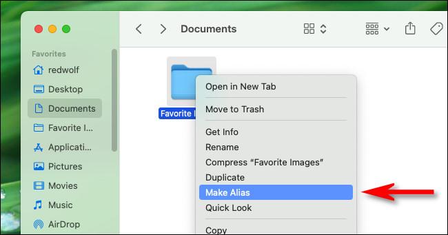 """Right-click a folder icon and select """"Make Alias."""""""