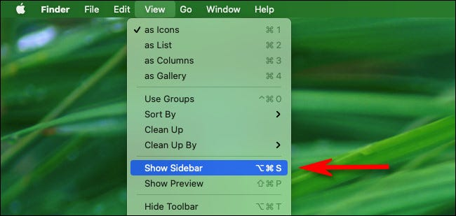 """In the Finder menu, select """"View"""" then """"Show sidebar."""""""