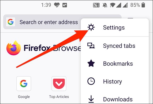 Open Firefox's settings