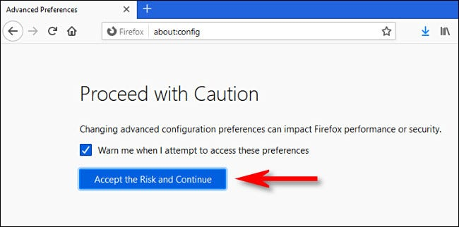 "Click ""Accept Risk and Continue."""