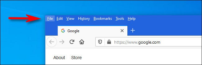 An example of menu bars in Firefox on Windows 10.
