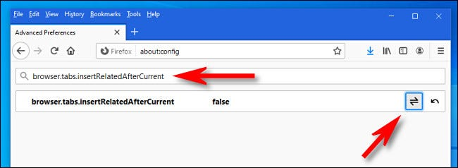 "Search for ""browser.tabs.insertRelatedAfterCurrent,"" then click the toggle button to set the option to ""false."""