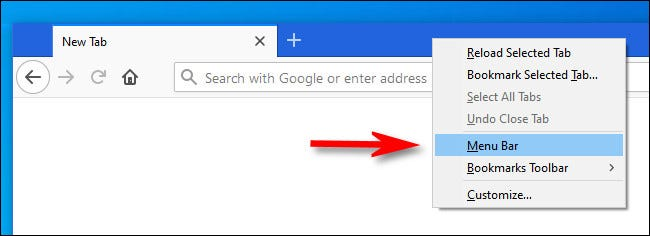 "In Firefox, right-click the tab bar and put a check beside ""Menu Bar."""