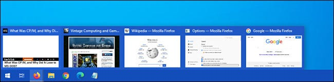 An example of Firefox taskbar tab preview thumbnails in Windows 10.