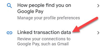 Choose the Linked transaction data option