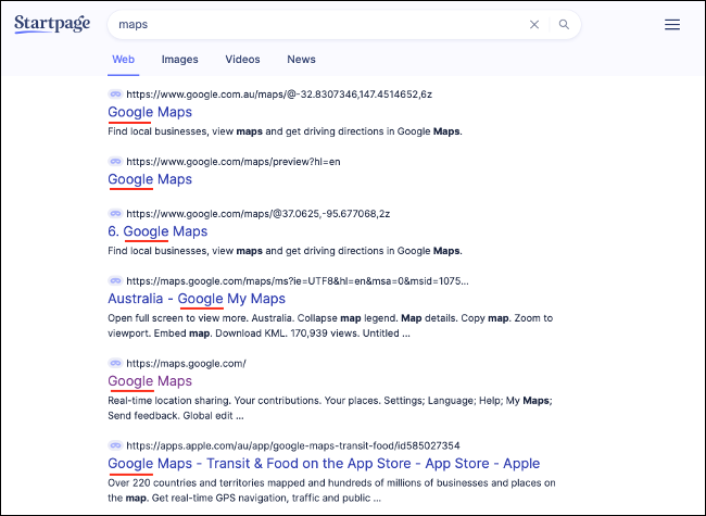 Google Products Appearing in StartPage Search