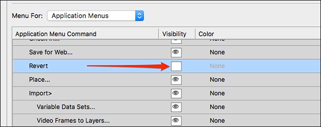 Hide an item in a Photoshop menu