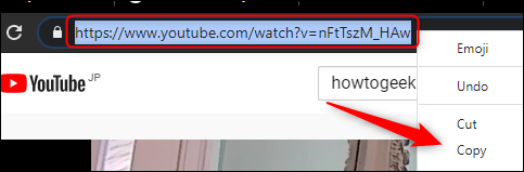 highlighted url in the address bar.