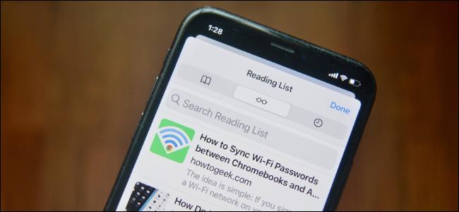 Safari Reading List on an iPhone