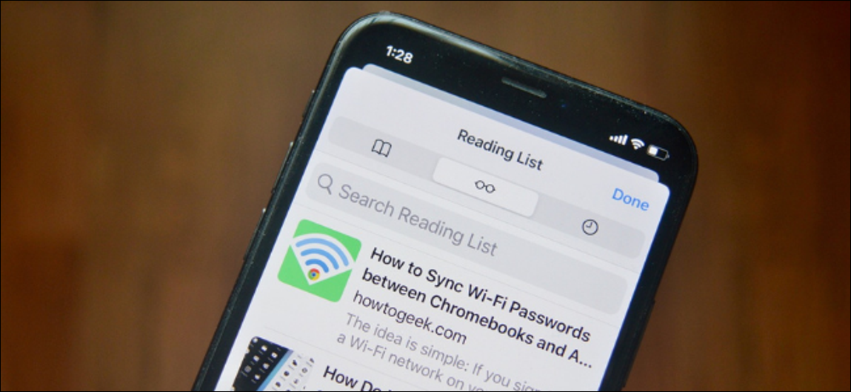 Safari Reading List on an iPhone