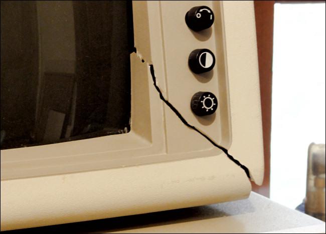 Shipping damage to an IBM PC monitor.