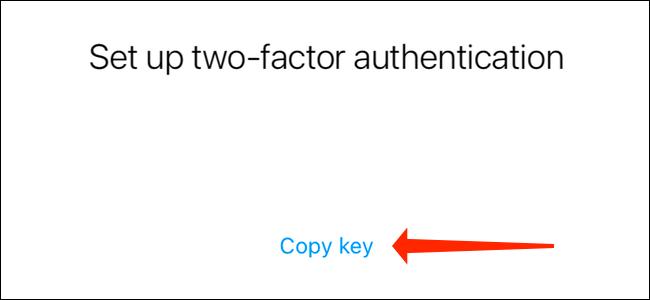Нажмите Копировать ключ, чтобы скопировать код аутентификации Instagram.  Вам нужно вставить это в Google Authenticator или любое другое приложение для аутентификации.