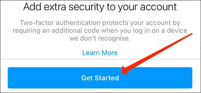 Нажмите «Начать», чтобы выбрать одно из приложений для аутентификации или текстовое сообщение для двухфакторной аутентификации в Instagram.