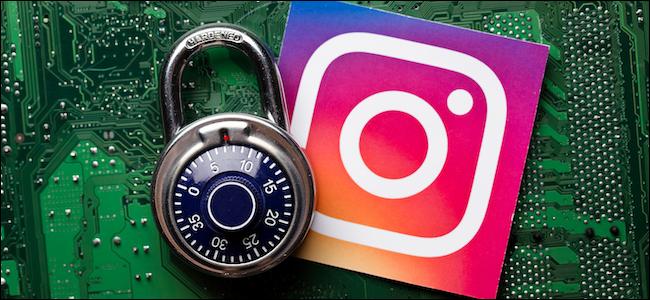 Instagram logo next to a security padlock