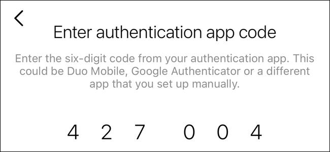 Вставьте свой код двухфакторной аутентификации в Instagram