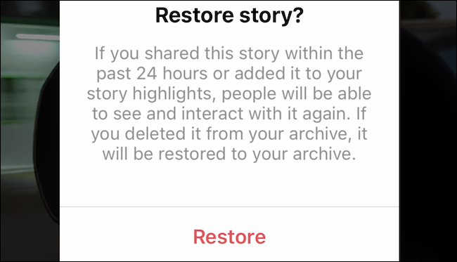 Restore deleted story on Instagram
