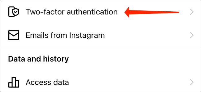 Нажмите Двухфакторная аутентификация в настройках Instagram.