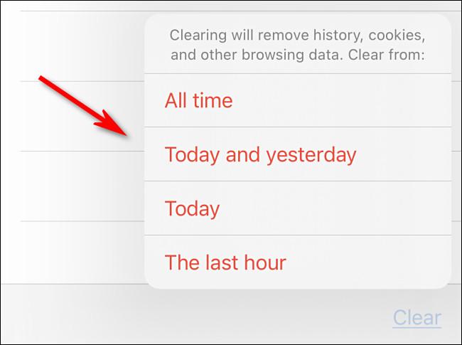 После нажатия «Очистить» выберите нужный вариант времени.