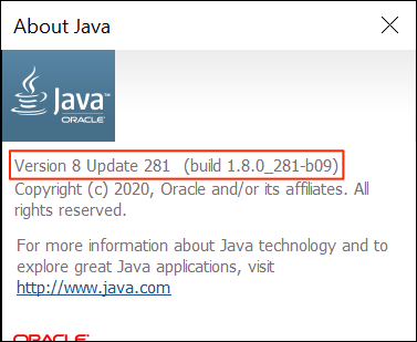 View your Java version using About Java